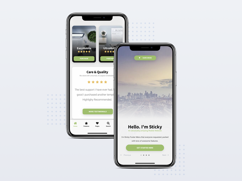 Sticky Mobile | Mobile Site Template css html pwa walkthrough uxui ux ui design design app web app app mobile app mobile ui card design cards footer menu landing page template design mobile design template mobile