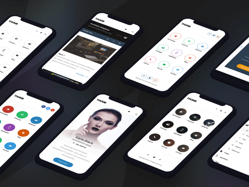 Thumb | Mobile Website Template creative light ui dark colourful menu dropdown ui dropdown modern ui webdesign profile page design thumbnails navigation menu navigation landing page ux ui mobile uiux mobile ui design mobile design mobile ui mobile