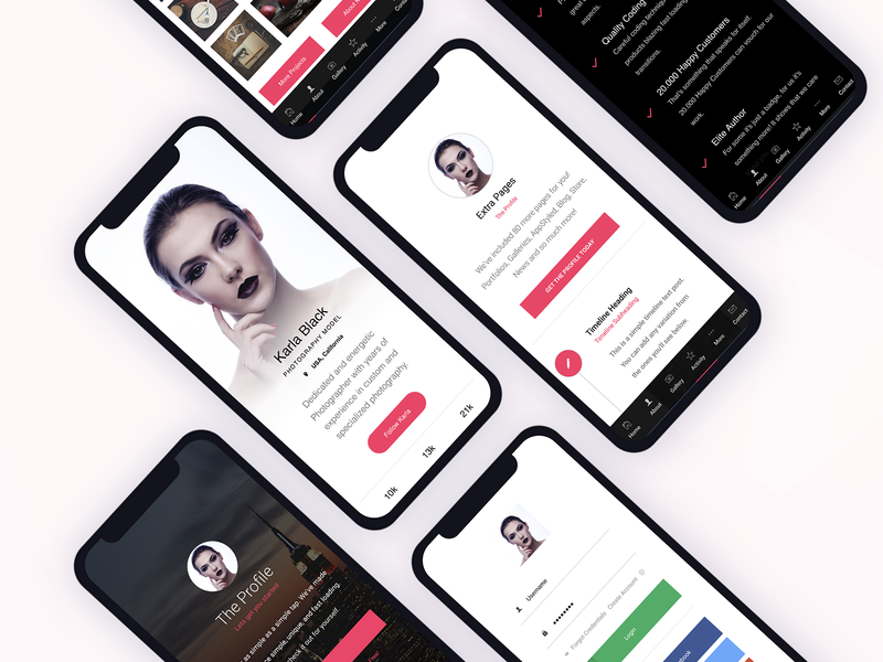 Profile | Mobile Site Template button design ux  ui mobile javascript css html landing page design landing page ui gallery register page timeline design timeline profile design profile profile page footer menu app mobile ui mobile template site template