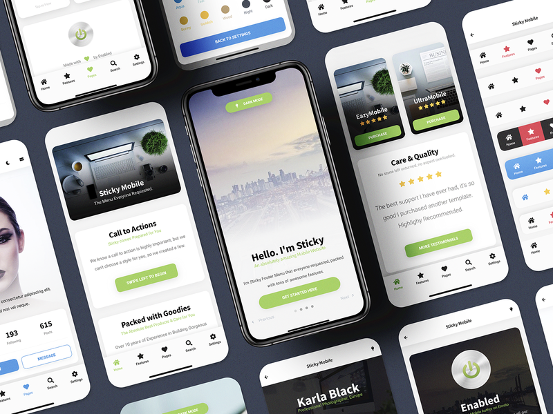 Sticky Mobile | Mobile Site Template & PWA - Best Seller footer design navigation menu ux design ux ui ux ui design ui profile footer menu mobile website template web app app mobile website design light ui light mode light landing page design dark mode business website