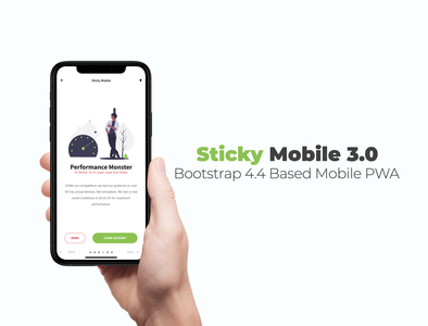 Sticky Mobile 3.0 | Mobile Kit & PWA bootstrap 4 user interface design webdesign ux ui design ui mobile kit kit site template sidebar design mobile ui mobile design walthrough landing page design homepage design design footer menu colour palette colourful button design