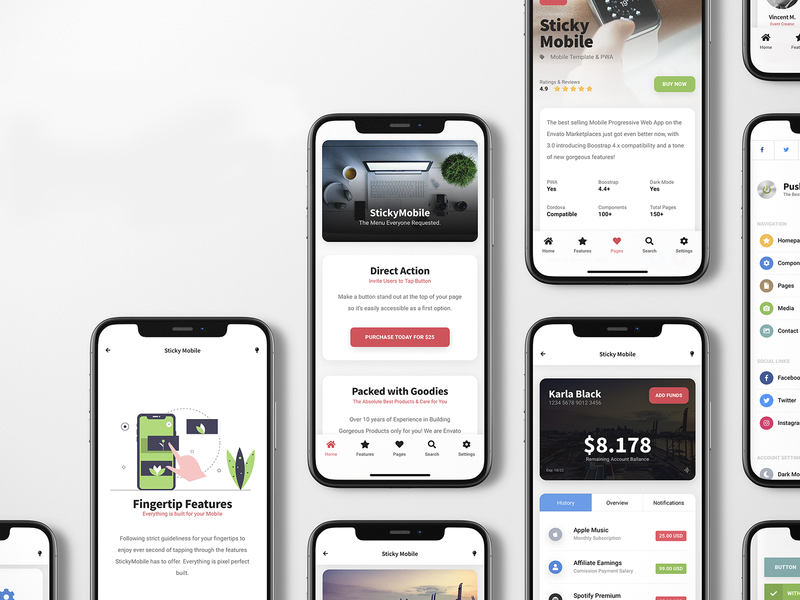 Sticky 3.0 | Bootstrap 4.4 Mobile Kit & PWA html app web app app interface app kit card layout card design side menu sidebar design footer design footer menu wallet page ux ui landing page ui landing page website design website kit mobile kit pwa