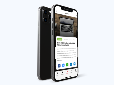 Sticky Mobile   Bootstrap Based Mobile Kit & PWA - Content Pack uiux ui design pwa mobile ios app design ios design app design modern app cards ui card design app mobile app ios ui carousel blog design news app article design content design content creation