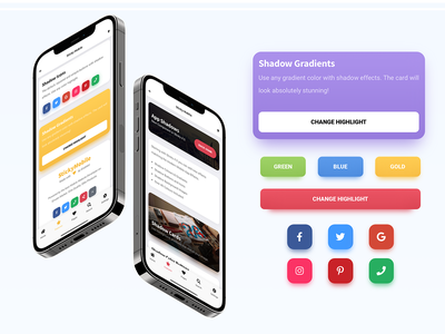 Sticky Mobile - Shadow Effect on Cards, Buttons & Icons icons bootstrap card effect card shadow colorful design ux ui user interface design mobile website mobile template web app design pwa app like app design app ui app colorful shadow shadow effect