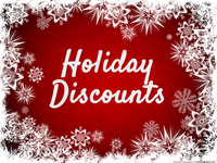 Holiday Discounts - 10% to 40% On 15 Items