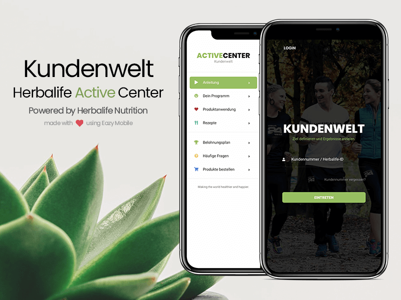Eazy Mobile | Kundenwelt Powered by Herbalife Nutrition ux ui iphone ios android minimal mobile development ui inspiration sidebar design login page design landing page green theme modern design design template website mobile eazy nutrition herbalife