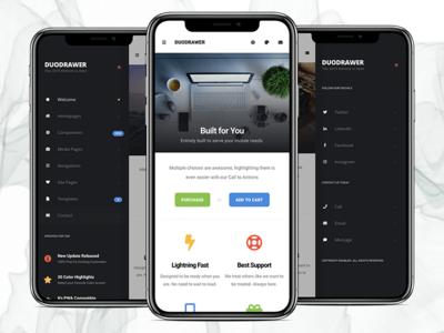 DuoDrawer 2.0 | Mobile Template, PWA, PhoneGap & Cordova App