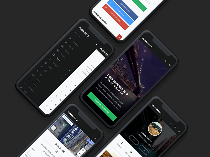 Pano Mobile | Mobile Website Template ios android design header modern website web design modern modern design user experience user interface contact page profile page design landing page landing page design sidenav dark sidebar mobile website design template website mobile