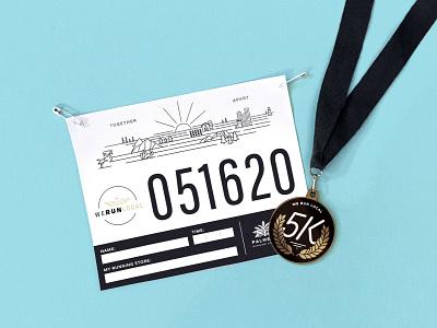 Together Apart 5K tshirt medal bib 5k run runner running race illustrator illustration focus lab