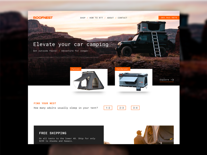 Roofnest Homepage ecommerce roofnest boulder outdoor brand website adventure outdoorsy roof top tent tent outdoors camping web design