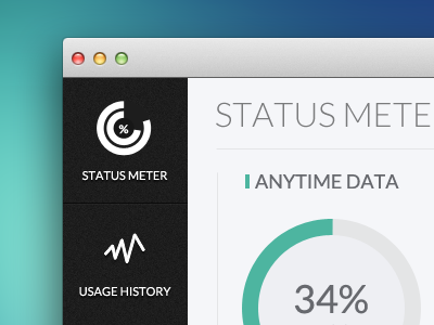 Status Meter - Under Expected Usage meter app application mac windows pc modern flat ui branding