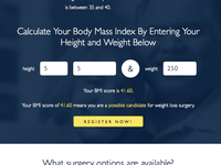 Bariatric Surgery BMI Calculator - Register Call to Action