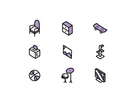 Thrift store treasures icon set