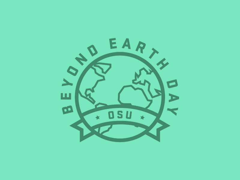 Beyond Earth Day logo project logo green simple thick lines minimal planet world globe sustainable earth day earth