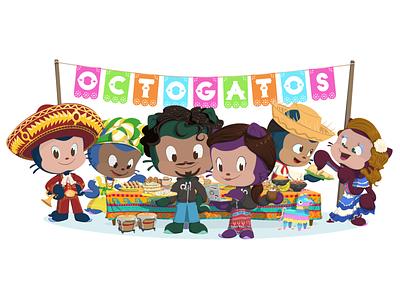 Octogatos Illustration latin america latin latinx employee resource group erg character design github octocat illustration octogatos