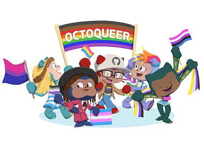 Octoqueer Sticker Design character design employee resource group erg diversity pride lgbtq lgbt queer design sticker illustration octocat open source github