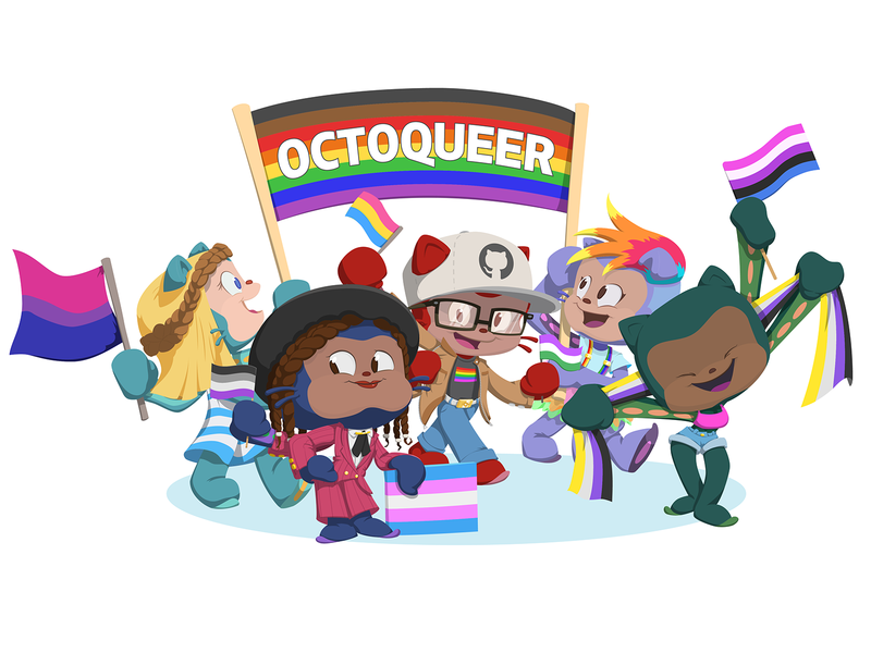 Octoqueer Sticker Design character design employee resource group erg diversity pride lgbtq lgbt queer design sticker illustration octocat open source github
