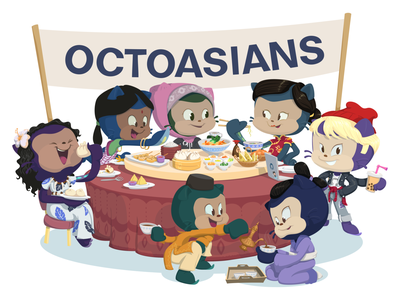 OctoAsian's ERG Sticker Design characterdesign illustration ally open source octocats octocat github asian representation diversity employee resource group erg