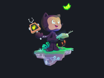 World-Building Octocat Animation character animation photoshop illustration character design animation sign-up loop gif cameron foxly octocat open source github