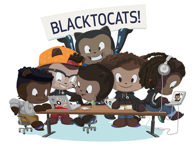 Blacktocats! cameron foxly cameron clark mona african american black history month octodex octocat illustration github blacktocats