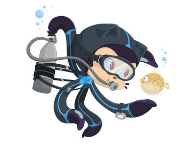 Scubatocat national scuba month fish pufferfish character design cartoon illustration octodex github scubatocat octocat scuba