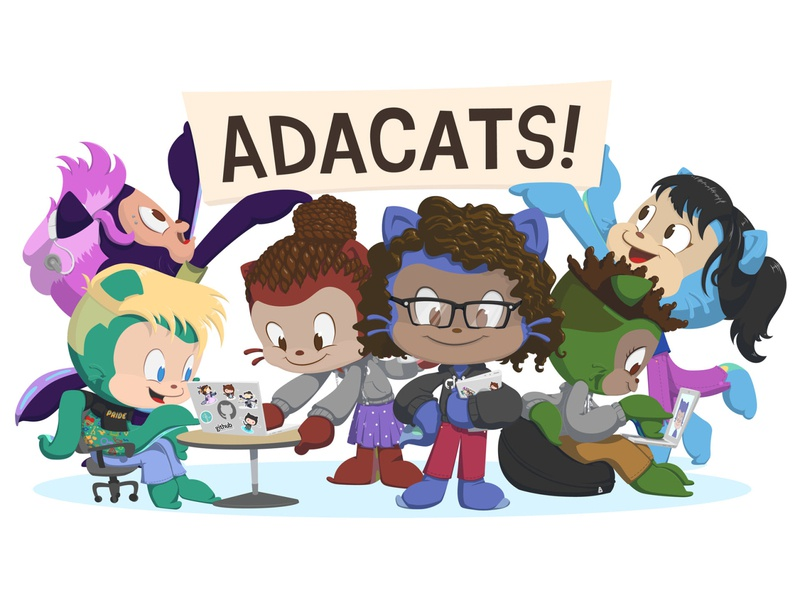 Adacats Sticker Illustration diversity employee resource group minority representation gender erg tech octocat github design photoshop illustration