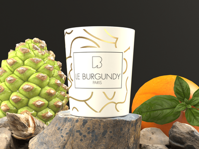 PARIS LE BURGUNDY CANDLE - Product Rendering rendering modelling designing design branding perfume paris aroma candle