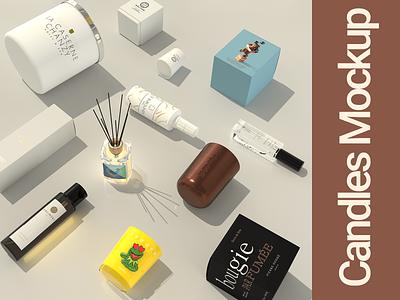 Candles Mockup - Designing & Branding rendering modelling designing design branding family moodshot candle