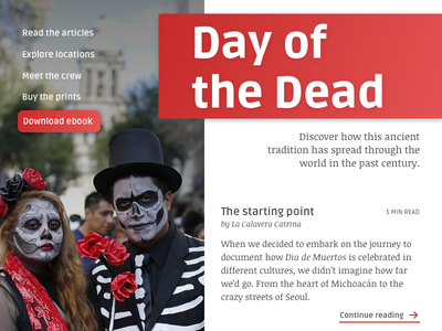 Daily UI 003/100 - Landing Page landing page day of the dead dailyui ebook article