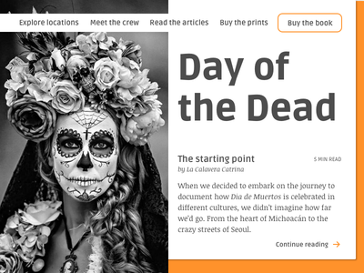 Daily UI 003/100 - Landing Page [rebound] landing page day of the dead dailyui ebook article