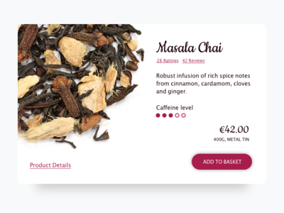 Daily UI 012/100 -  E-Commerce Shop (Single Item) tea dailyui ecommerce