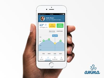 Asthma Monitoring app dashboard graph asthma mobile app