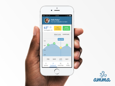 Asthma Monitoring app dashboard graph asthma mobile app