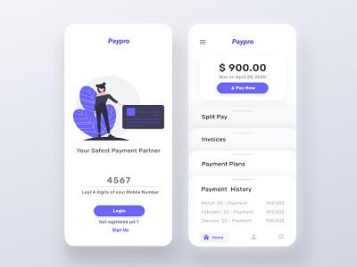 Pay Pro - Your Safest Wallet uxdesign phone verification login page dashboard mobile interaction mobileapp uiux minimal clean ui fintech app payment wallet login ui