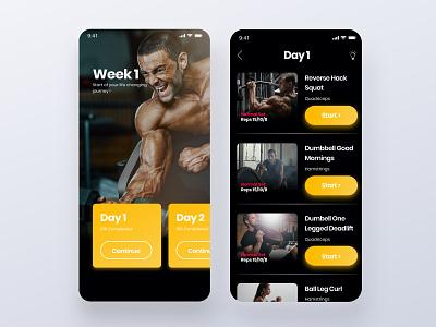 Fitness Trainer App - Personalised Workout ux design webdesign mobile app design landing ui ux mobile interaction branding design