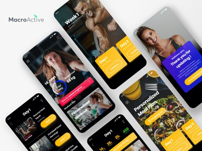 MactoActive Fitness Trainers App meal planner food meal fit figma typography landing webdesign mobile ui mobile app mobile fitnessapp workout fittrainers fitness interaction ux ui