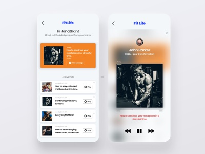 Trainer Podcast Integration - Fitness App musicplayer music app podcast advice personal chat trainer personal coach workout app fitness mobile app mobile ui design clean minimal mobile ux interaction ui
