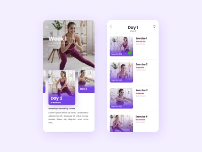 Fitness App UI - Exercise Listing ux mobile ui fitness club workout fitness app health fitness interaction
