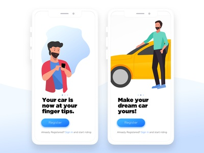 Welcome Screens for Mobile App branding vector minimal illustration mobile ux interaction ui