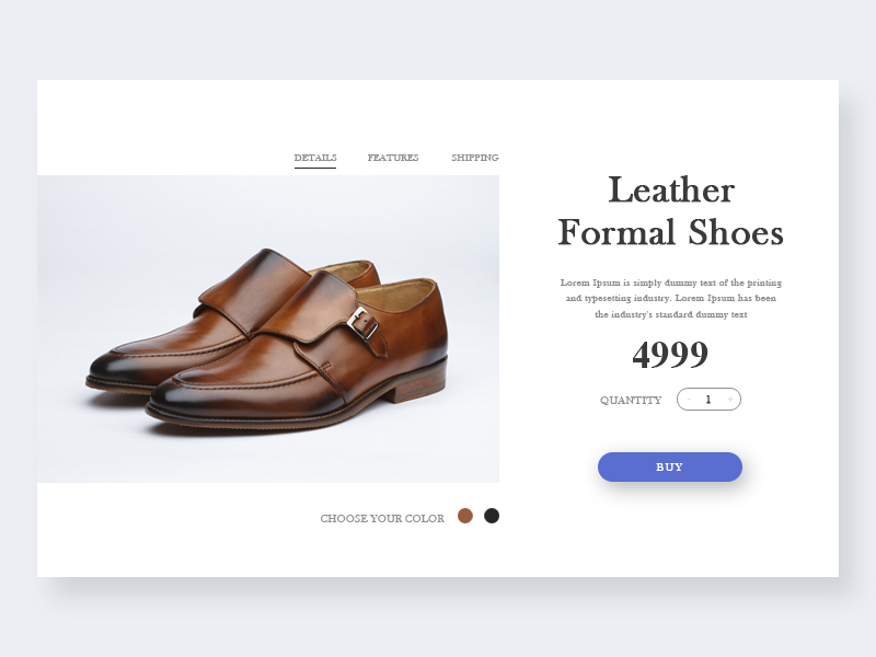 Leather formal shoes  Product Page ui store size shop page product preview leather shoes ecommerce color cart