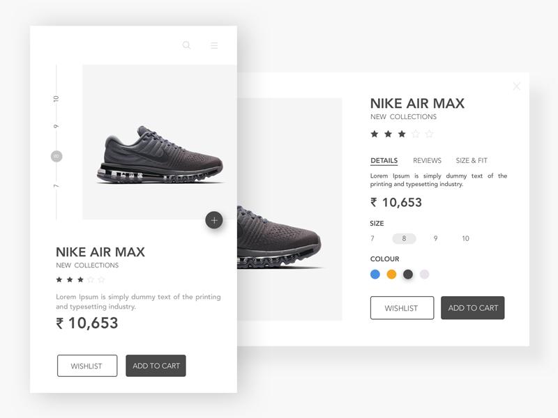 Nike Air Max App- Cart Page ux ui star sketch shoes nike new max colour cart air