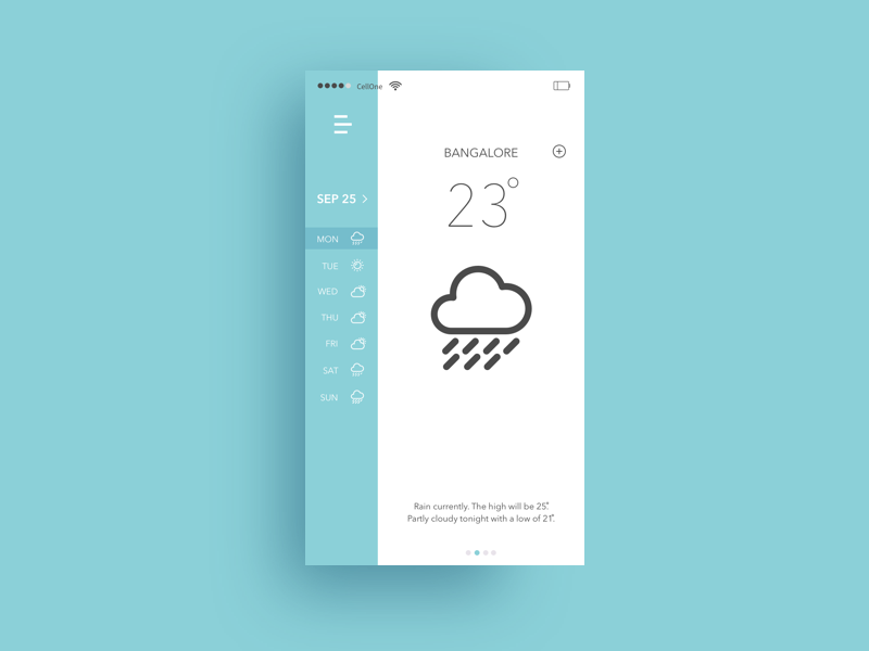 Weather App mobile crative clean bangalore rian new blue ux ui app weather