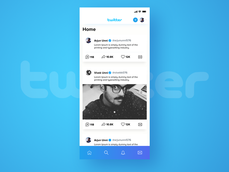 Twitter redesign gradient cool new ios ux ui iphonex twitter blue