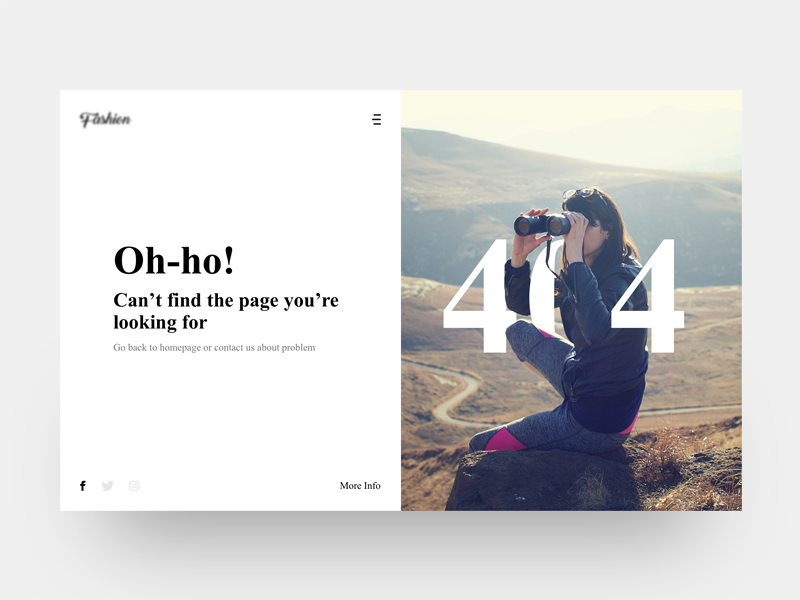 404 - Page not found search cool shoping dribbble new creative ux ui pagenotfound 404 dress fashion