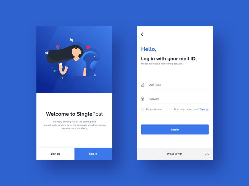 Log In : SinglePost App illustrator animation creative clean gif 2d singlepost up sign in log charecter blue app mobile ux ui