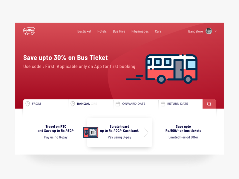 Redbus Landing Page Redesign cash new color simple travel booking ticket redbus red landing page ux design ui ux design