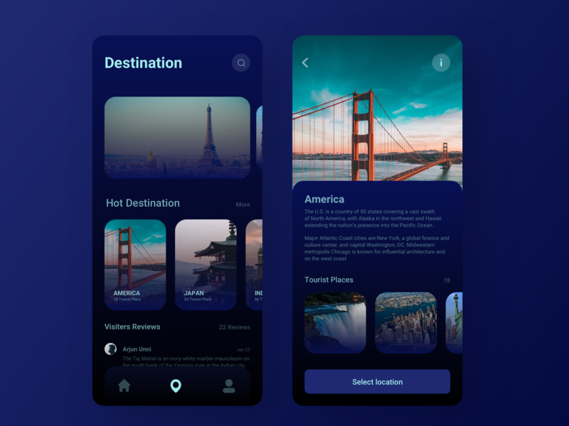 Travell App animation intraction trending america mobile clean ui iphone x cool app app design tourist travell ux ui