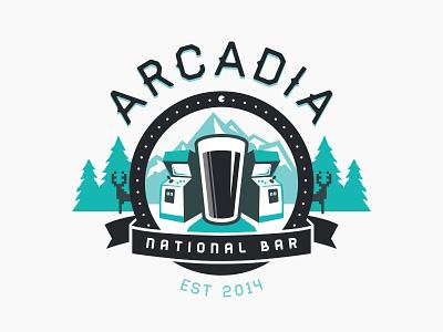 Arcadia National Bar first shot bar arcade thanks! nature vector bar beer logo maine