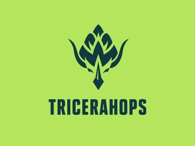 Tricerahops triceratops hops beer dinosaur logo icon horns green