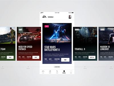 EA Play: Schedule Companion App card design daily ui games apps ios